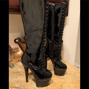 New Pleaser Black Rhinestone Boots Size 5